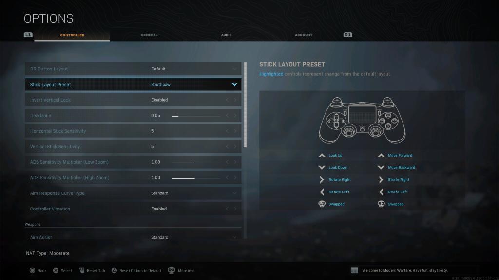 Screenshot showing Southpawstick preset