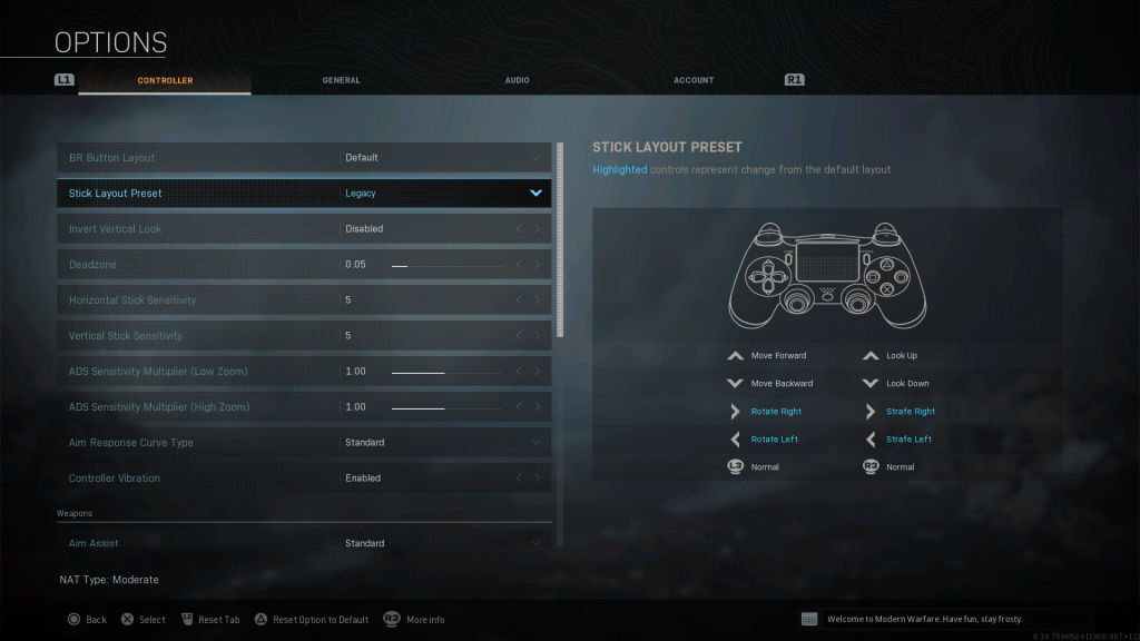 Screenshot showing Legacystick preset