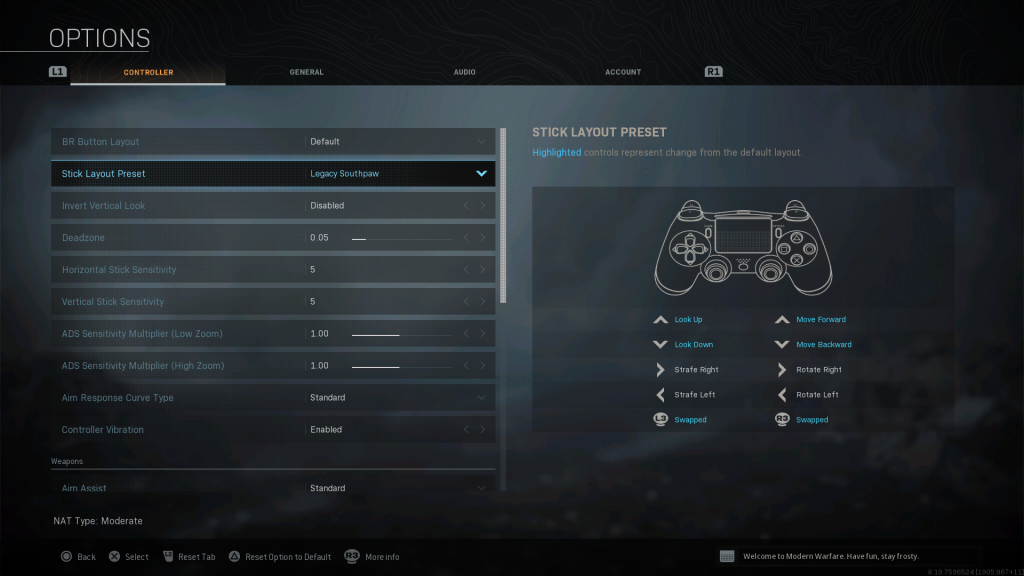 Screenshot showing Legacy Southpaw stick preset