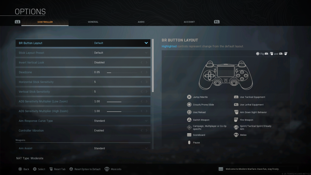 Screenshot showing Default Battle Royale Controller Layout