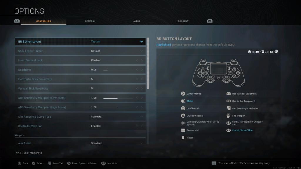 Screenshot showing Tactical Battle Royale Controller Layout