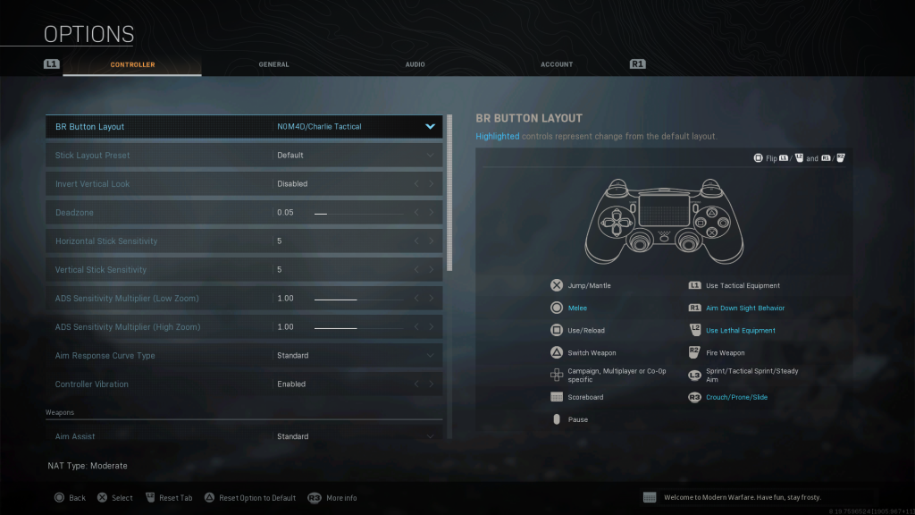 Screenshot showing Nomad Charie TacticalBattle Royale Controller Layout