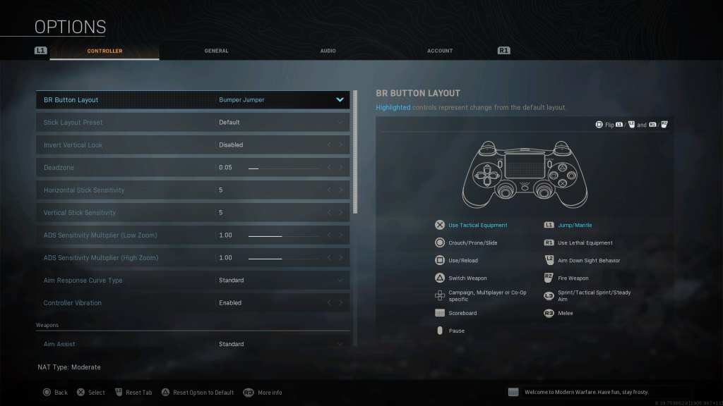 Screenshot showing Bumper Jumper Battle Royale Controller Layout