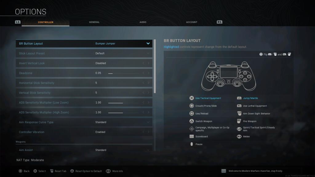Screenshot showing Bumper Jumper Battle Royale Controller Layout