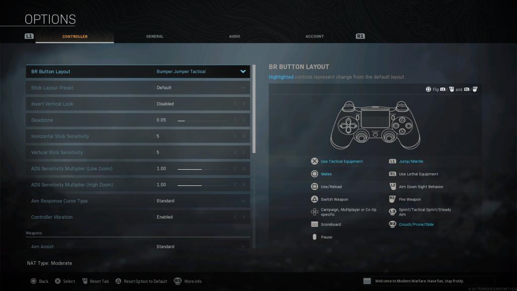Screenshot showing Bumper Jumper Tactical Battle Royale Controller Layout