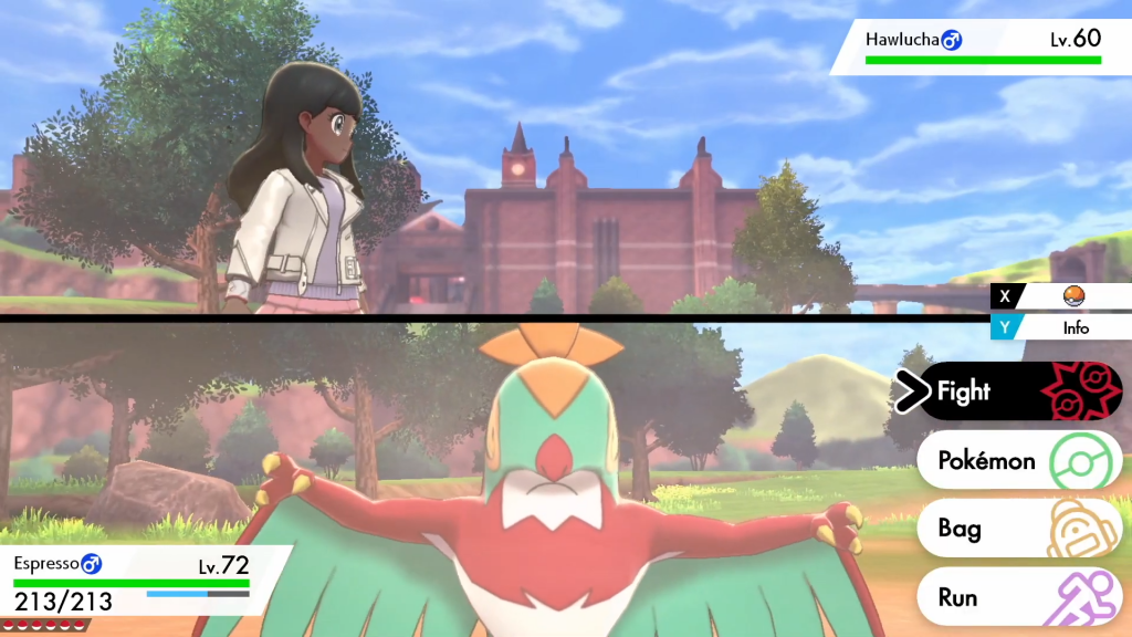 Screenshot of the battle menu in Pokémon Sword. The screen is split in two with the player's character in the toip half and the Pokemon in the bottom.