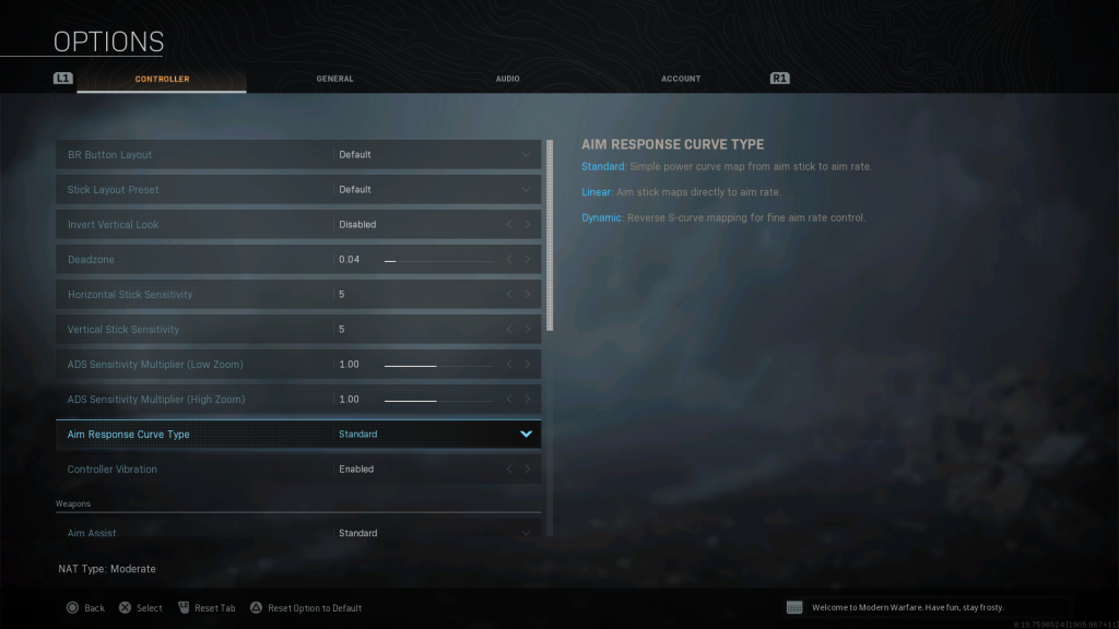 Screen shot of Warzone showing the Controller Options.