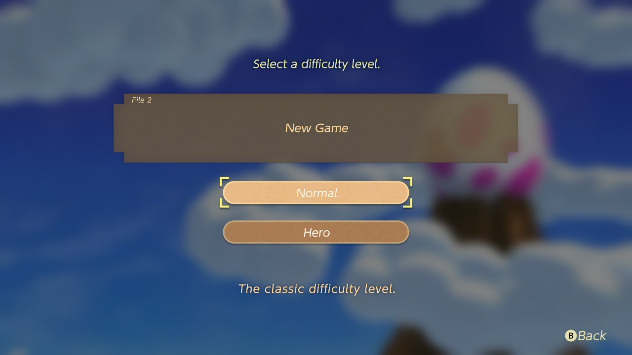 Screen shot of difficulty options.
