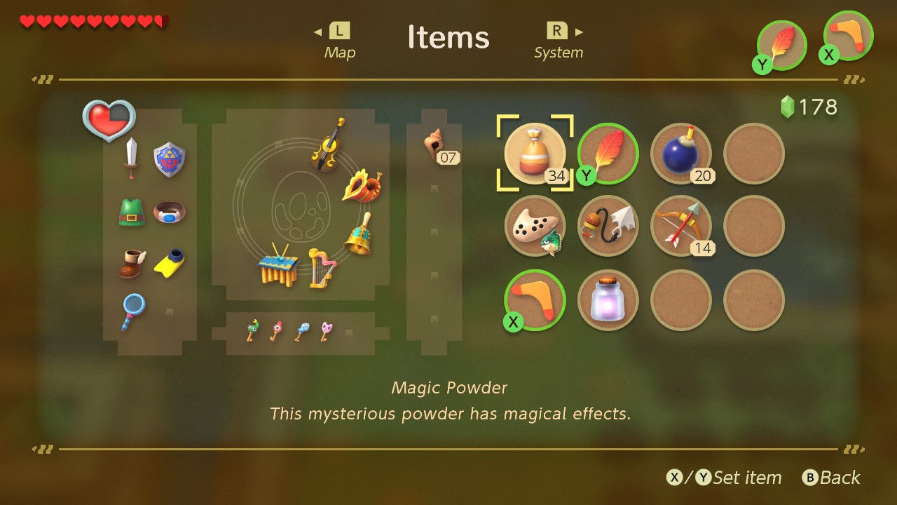 Screen shot of items menu.