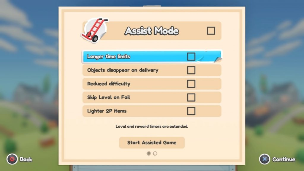 A screenshot of the Moving Out Assist Mode options.