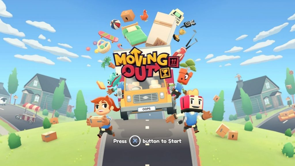 A screenshot of the Moving Out PS4 title screen