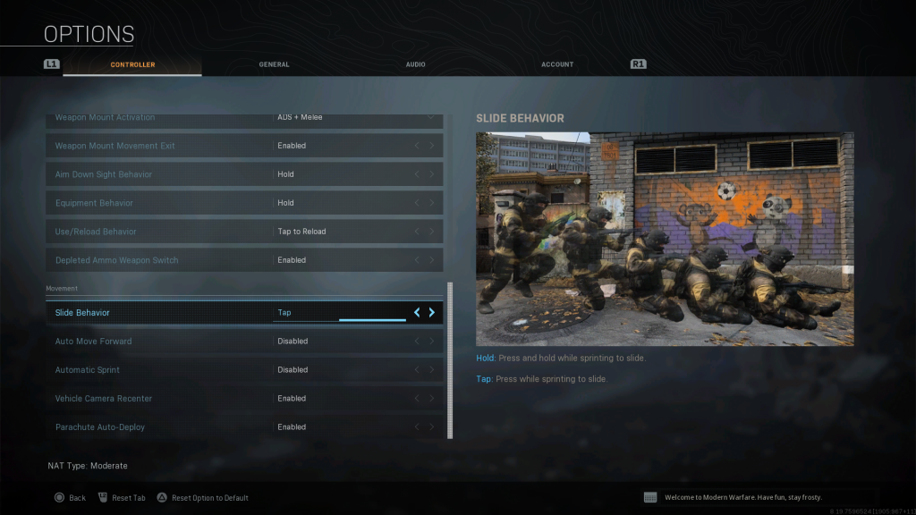 Screen shot of Warzone showing the Movement Options.
