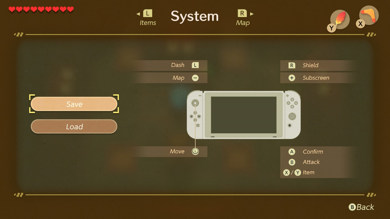 Screen shot of system menu showing controller layout.