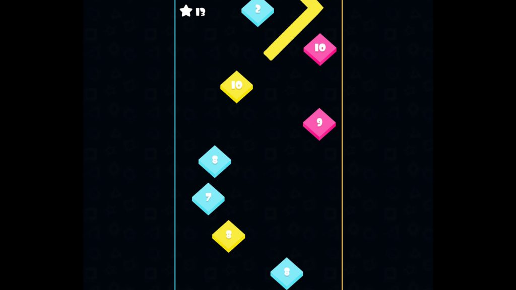 Black background and column of coloured diamonds, each numbered for scoring. A yellow thick line falls from the top of the screen at 45 degree angles.