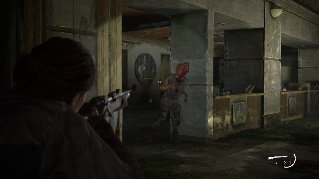 Screenshot showing Ellie aiming towards a Clicker with a rifle.