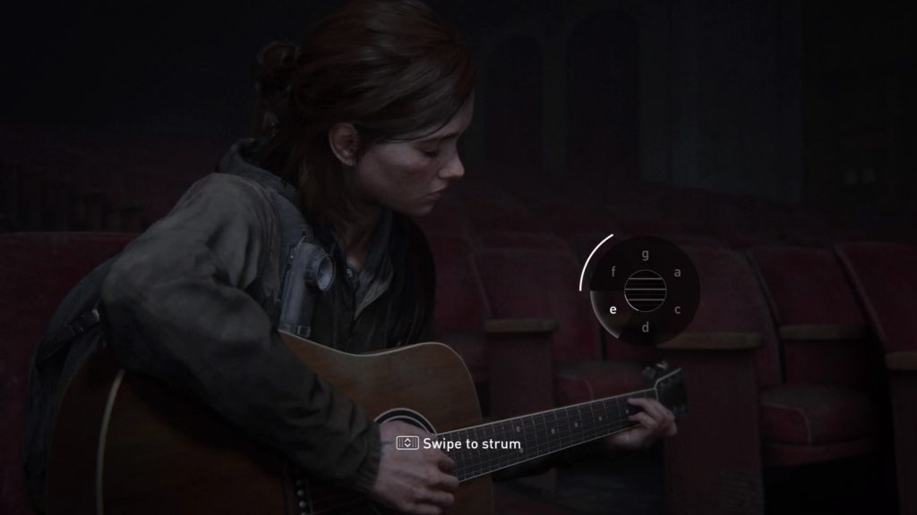 Screenshot showing Ellie playing the guitar with onscreen prompts to use Touchpad to strum and a chord UI.
