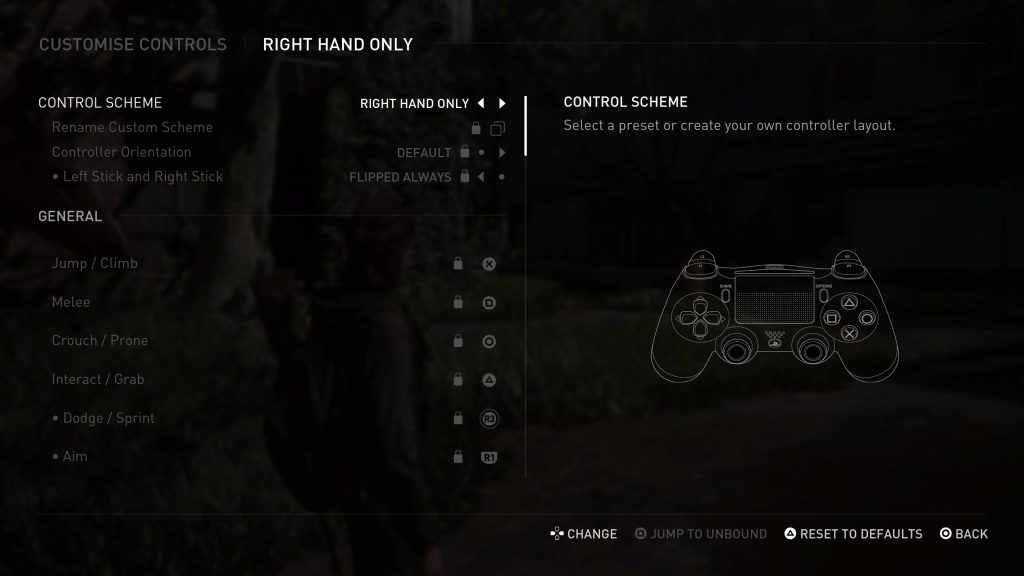 Screenshot shwoing the Customise Controls Menu when the Left Hand Only control scheme is selected.