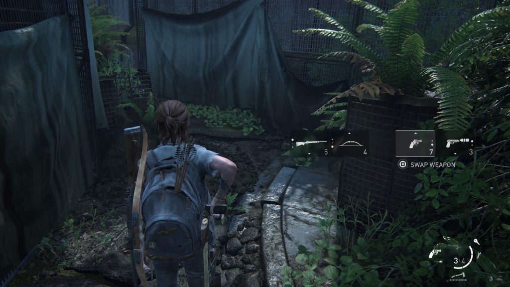 Screenshot showing Ellie drawing a pistol with the weapon swap onscreen UI.