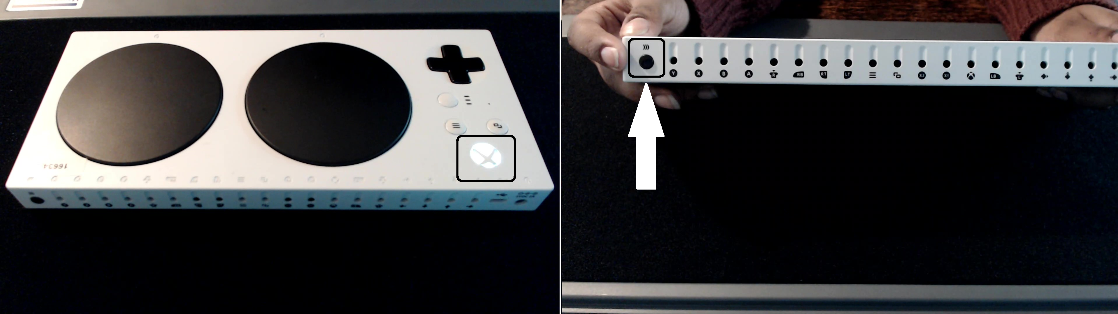 Photos showing where the sync button is on the XAC and which light will illuminate when pressed.