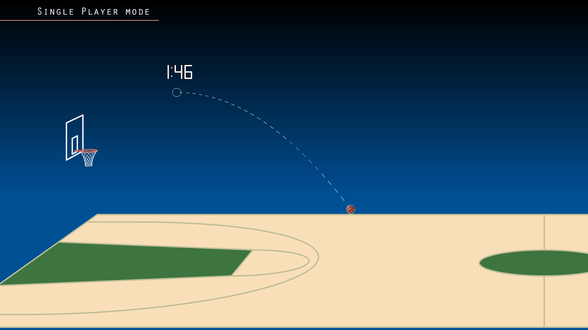 Screenshot of Online Basketball showing a side on view of one end of a court and a telegraph coming from the ball showing its path of trajectory.