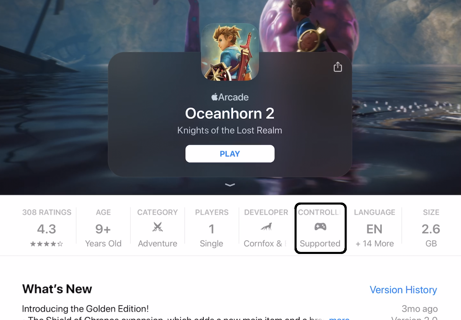 Screenshot highlighting where in the app information you can find whether a game is Controller Supported.