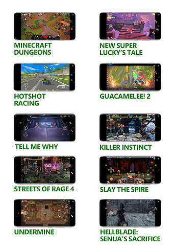 10 small mobile phones, showing gameplay and text for  Minecraft Dungeons New Super Lucky's Tale Hotshot Racing Dead Cells Gucamelee! 2 Tell Me Why Killer Instinct Streets of Rage 4 Slay The Spire UnderMine Hellblade: Senua's Sacrifice.