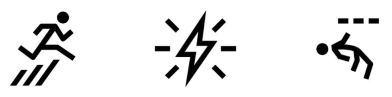 Three symbols. A stick figure jumping over three ascending slanted lines. A bolt of lightening with six emphasising lines. A stick figure ducking under three dotted lines, possibly 3 bullets.