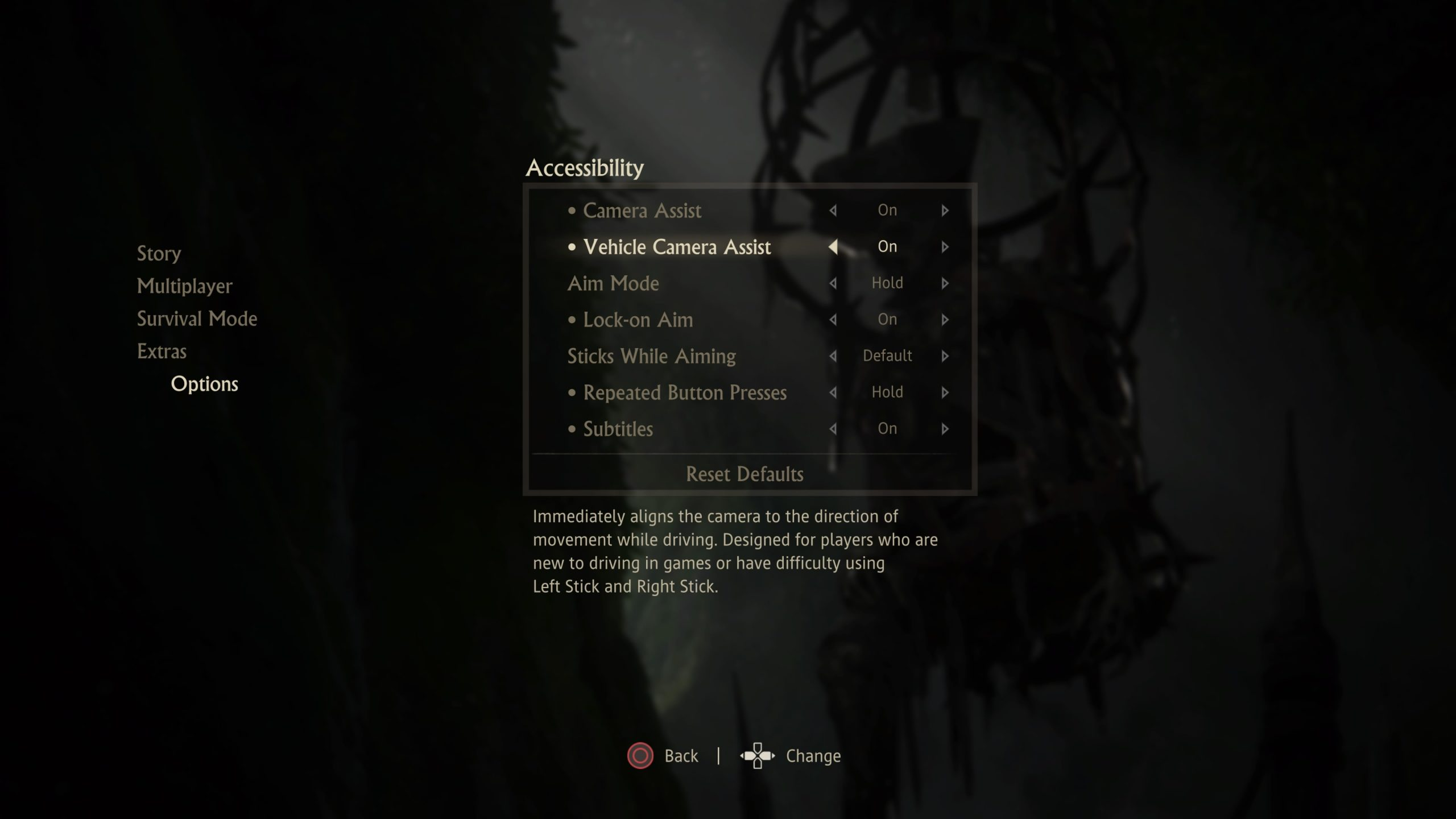 Screenshot of the list of settings found in the Accessibility sub-menu