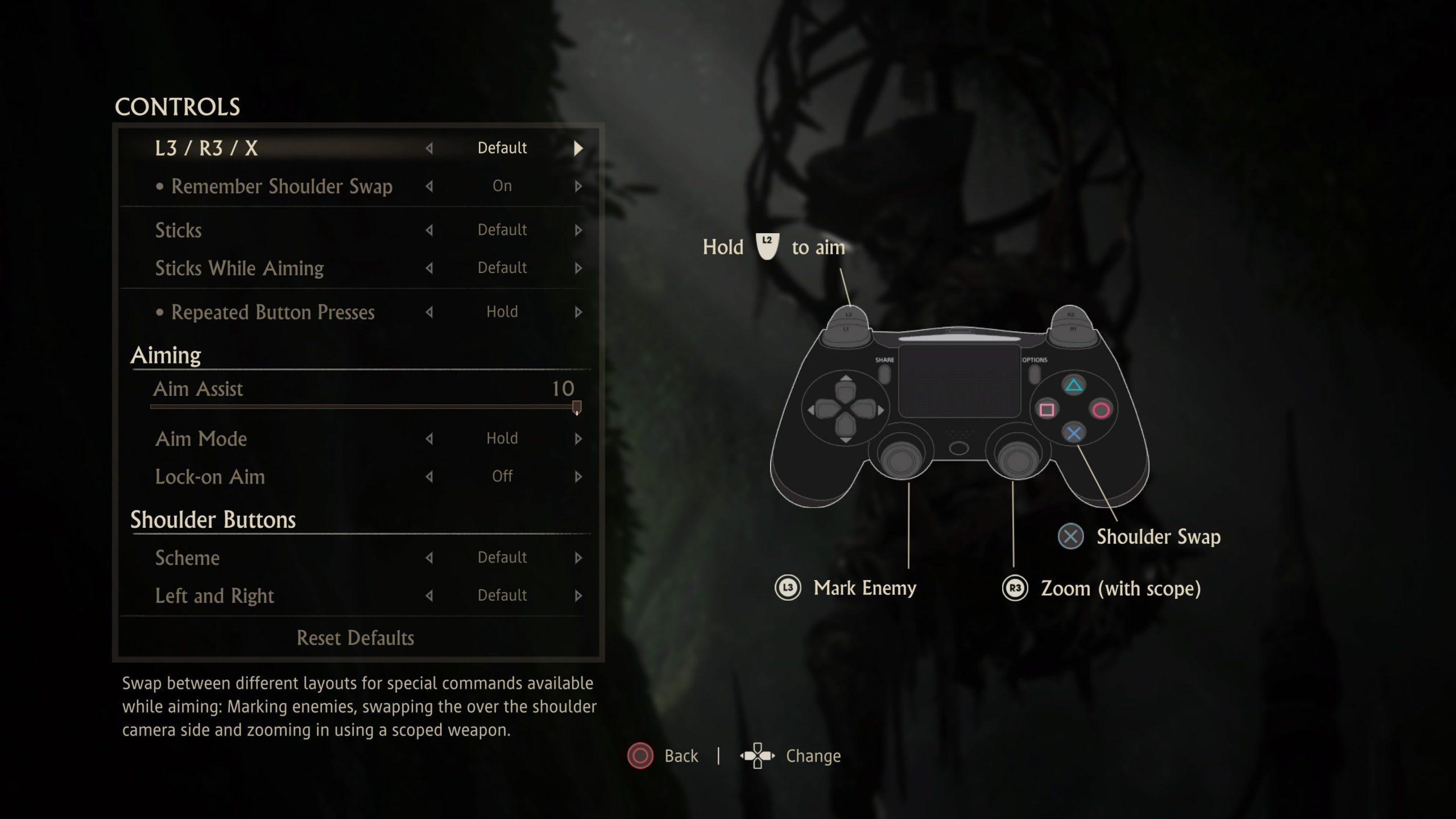 Screenshot of the list of settings found in the Controls sub-menu