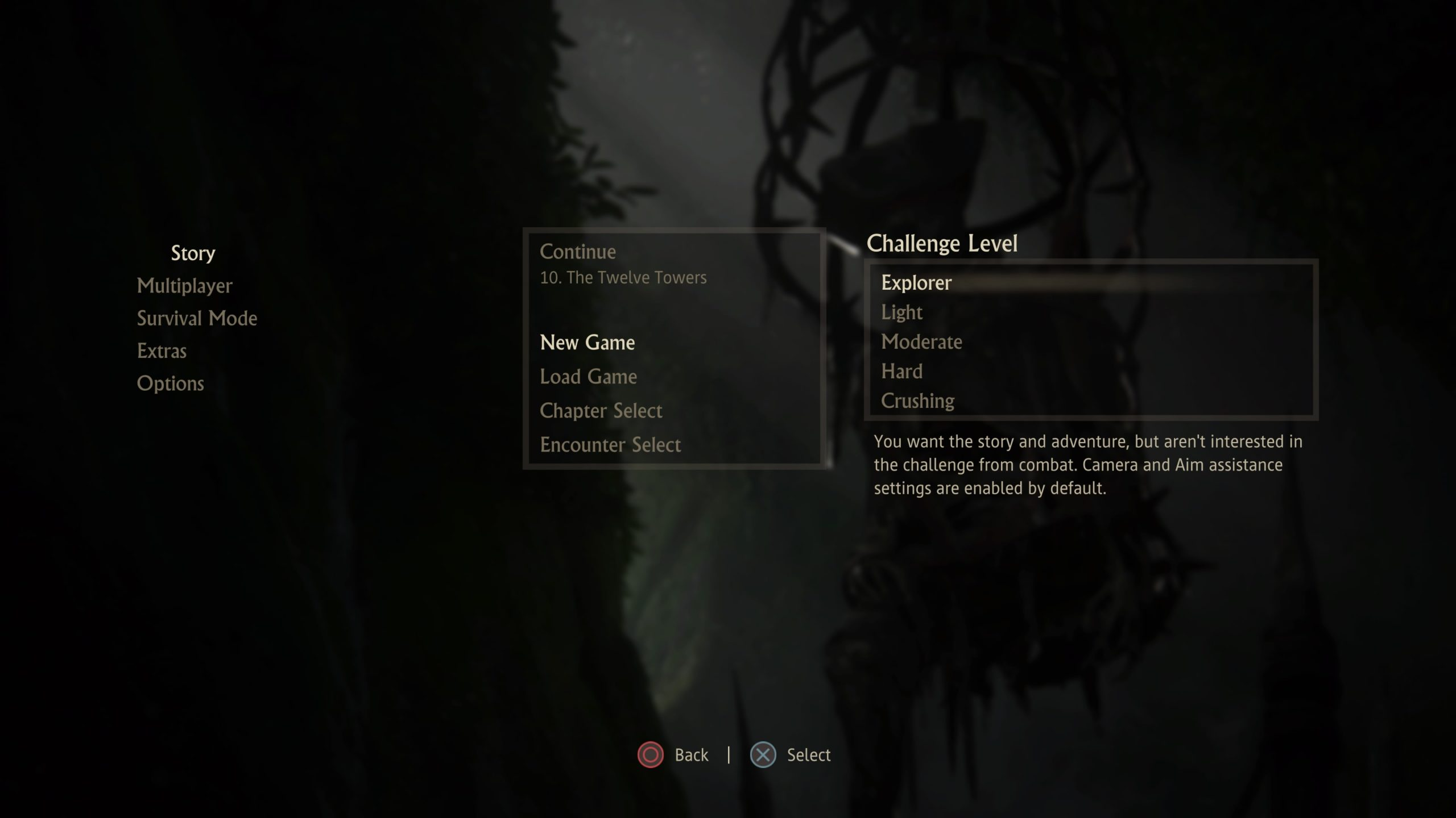 Screenshot of the difficulty menu when starting a new game