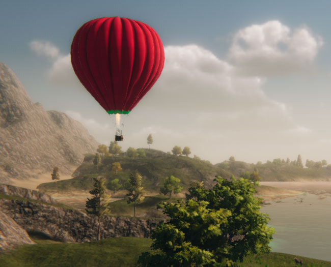 Chill Balloon, hot air balloon floating across a lovely landscape.