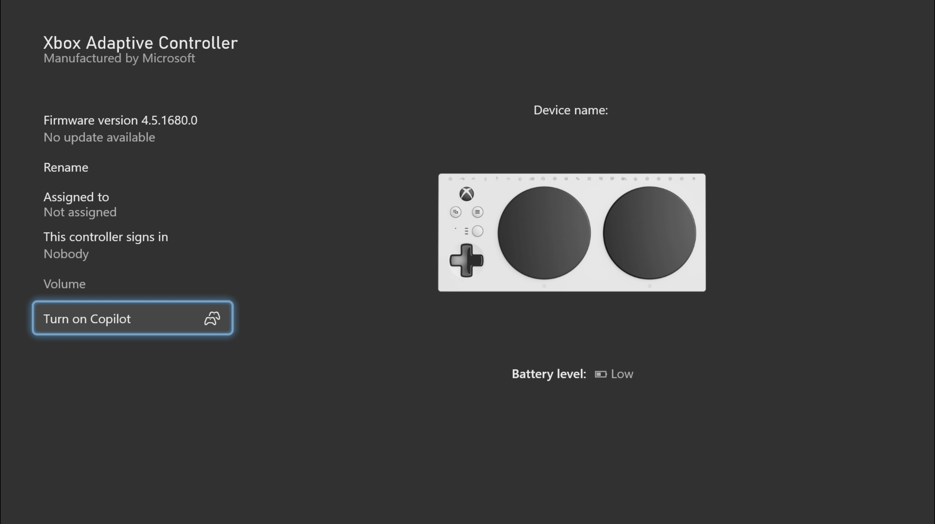 Screenshot showing an Xbox Adaptive Controller image within the Xbox Accessories app. An Xbox Adaptive Controller image is shown  with the 'Turn on Copilot' option highlighted.