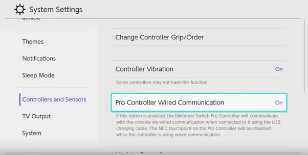Screen shot showing Pro Controller Wired Communication in settings menu.