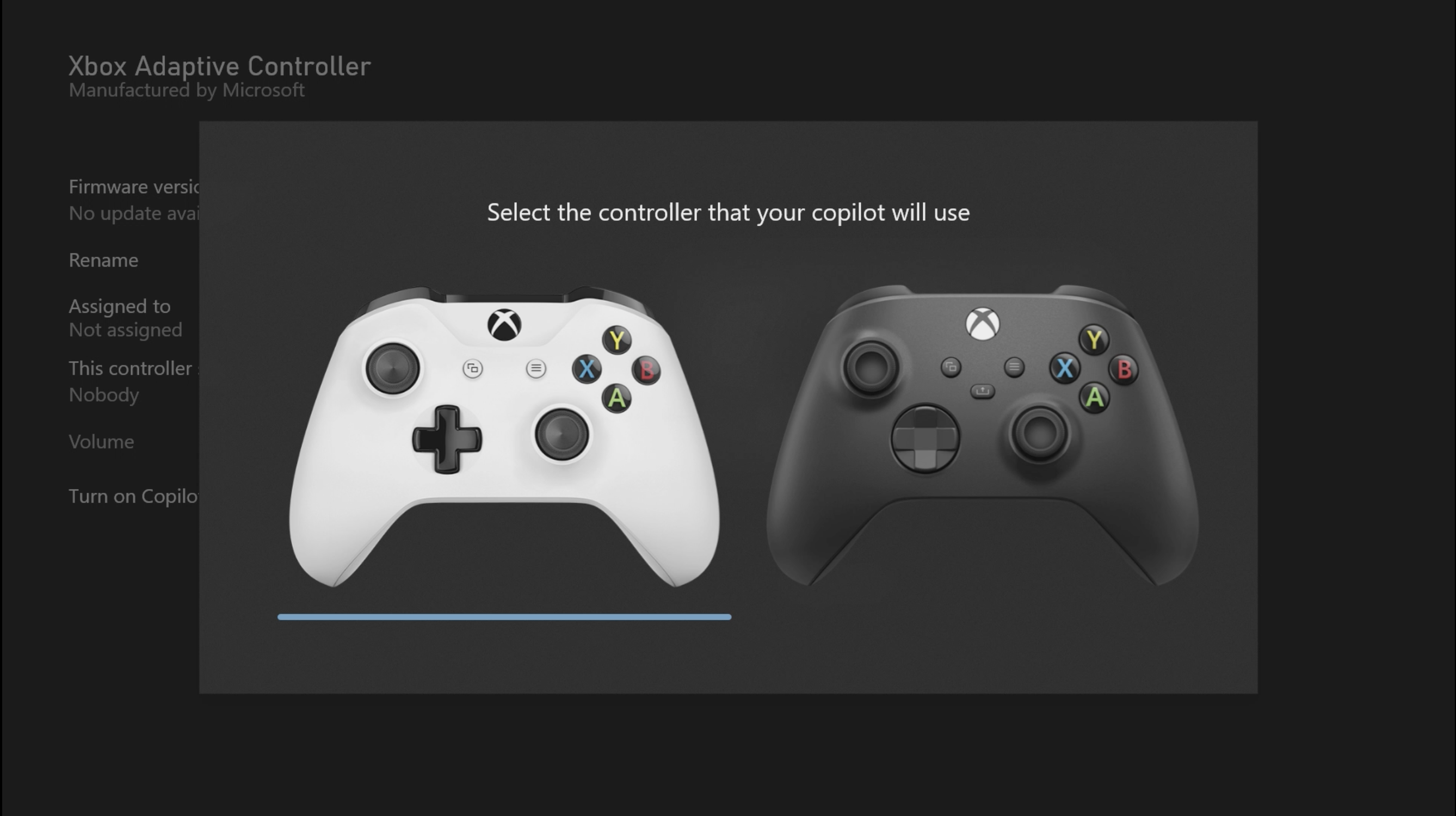 Screenshot showing two standard controllers side by side with a message stating ' Select the controller that your copilot will use.'