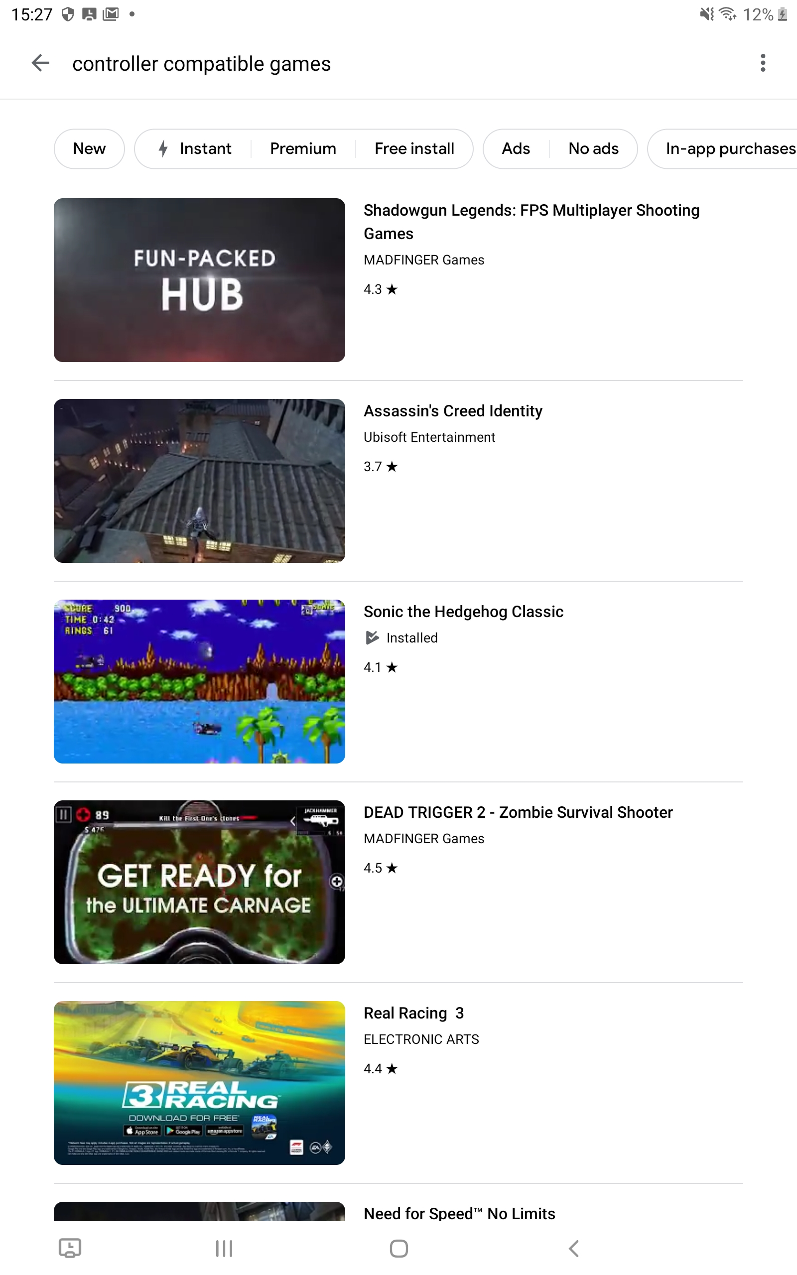 Screenshots of a search on Google play for controller compatible games.