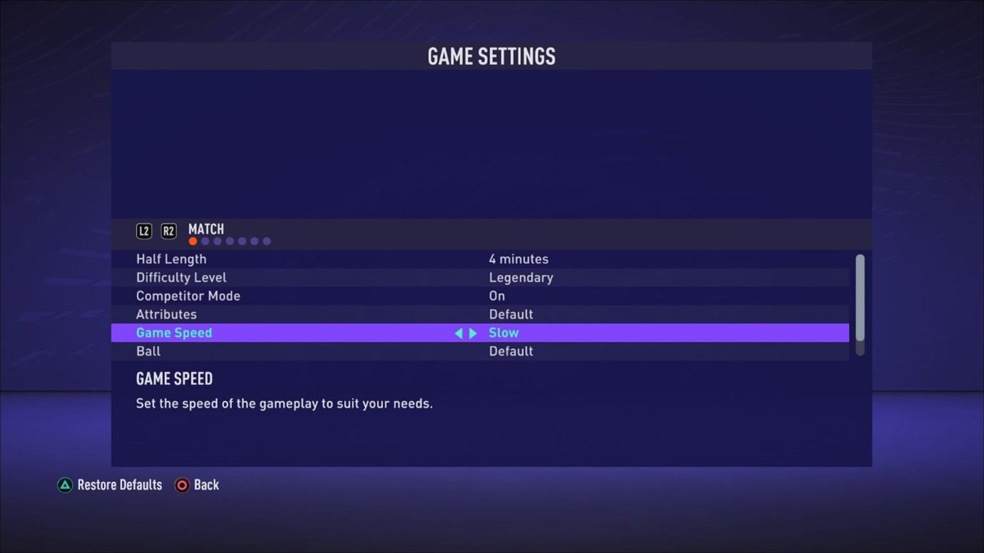 Screen shot showing Game speed set to Slow in Game Settings menu.