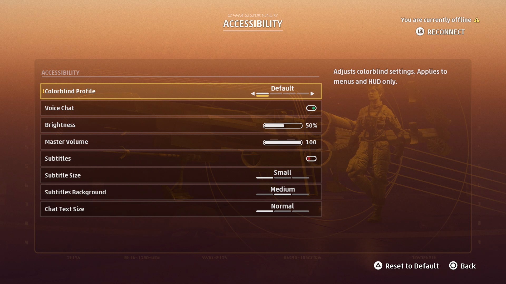 A screenshot of the Star Wars: Squadrons Accessibility settings.