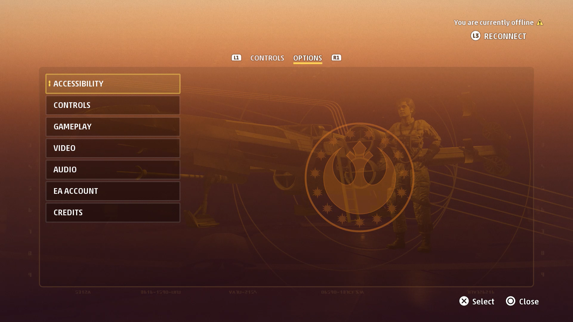 A screenshot of the Star Wars: Squadrons Options screen.