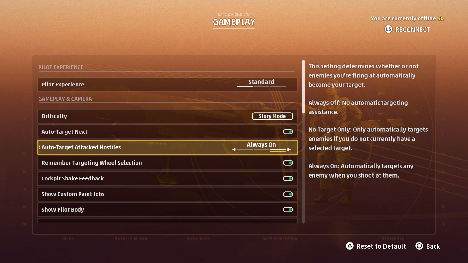 A screenshot showing the Auto-Target Attacked Hostiles option.