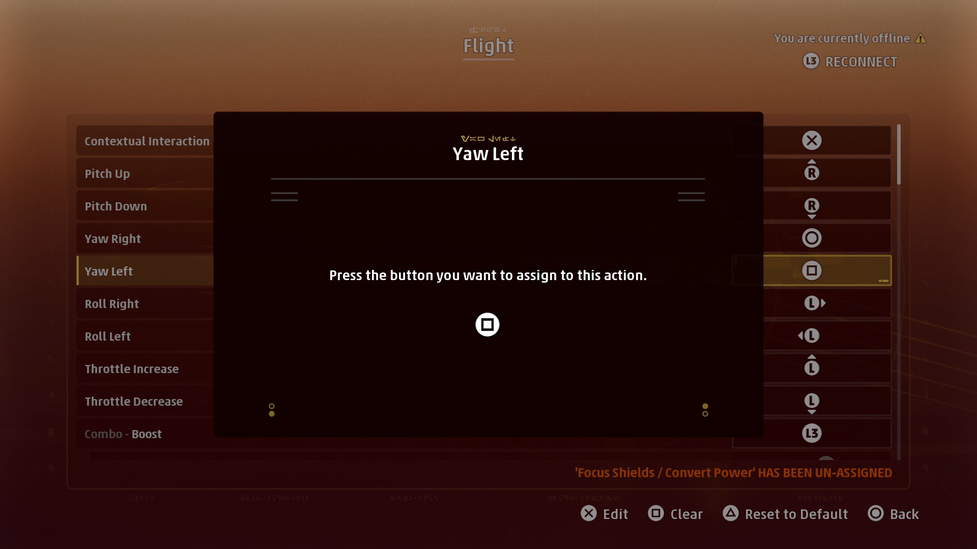 A screenshot showing how to remap controls in Star Wars: Squadrons.