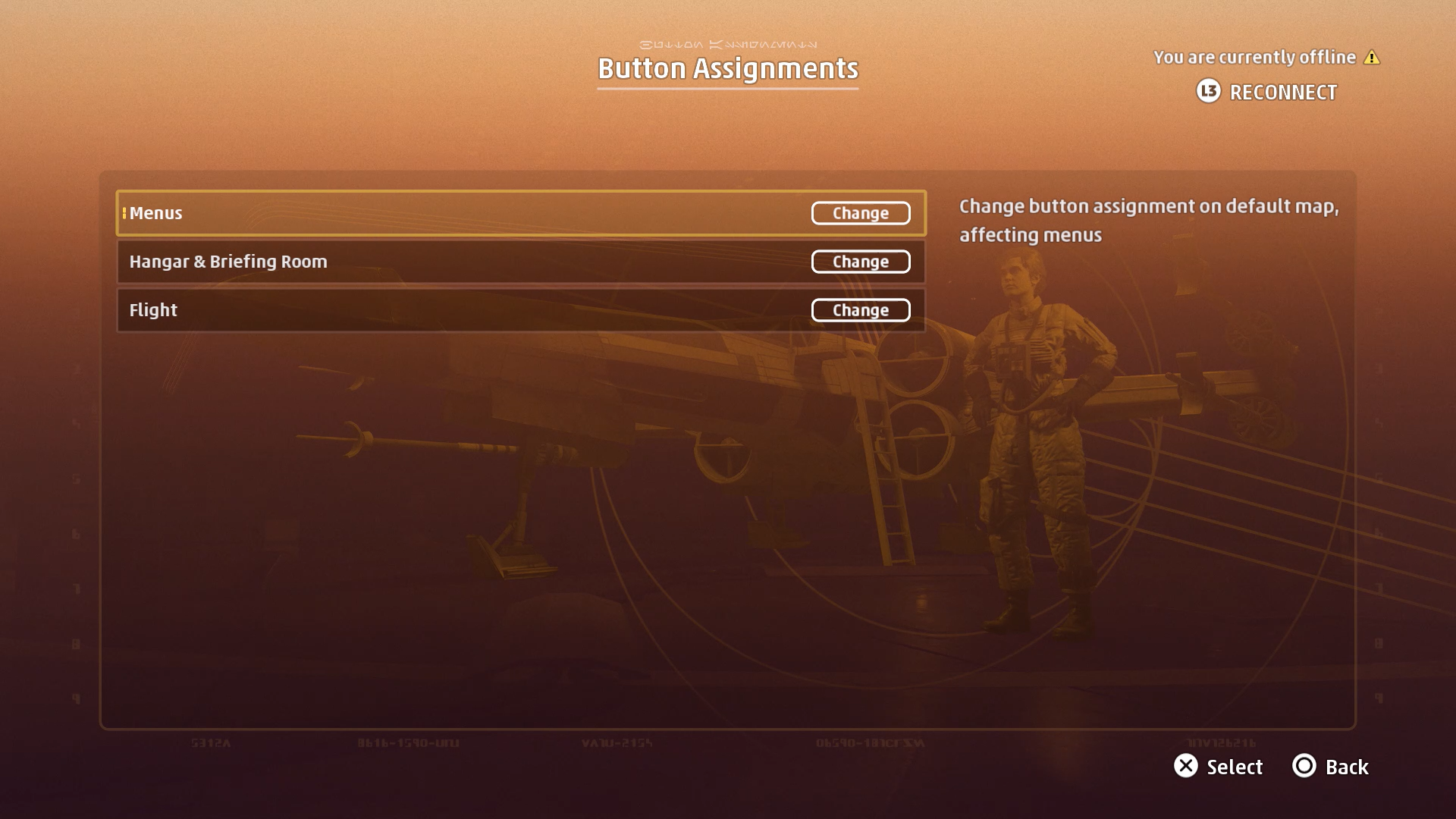 A screenshot of the Star Wars: Squadrons Button Assignments menu.