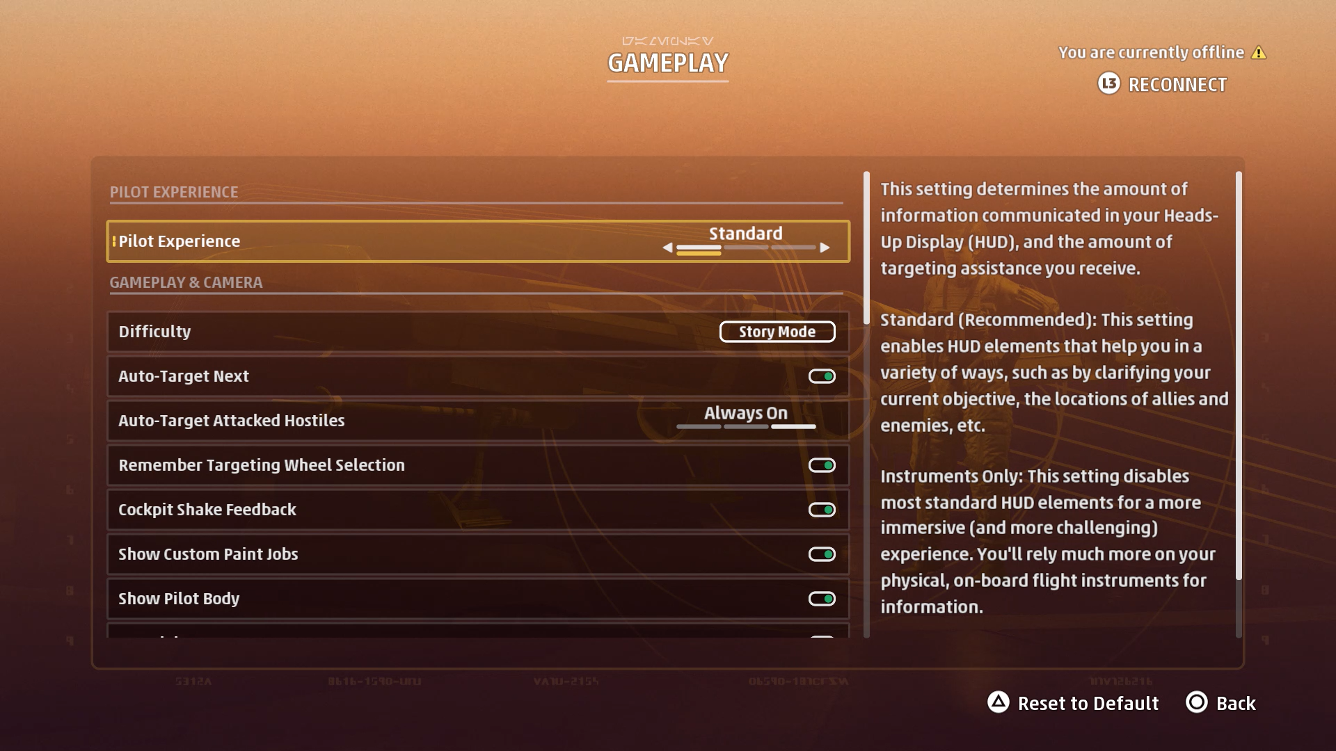 A screenshot showing the Star Wars: Squadrons GAMEPLAY options menu.