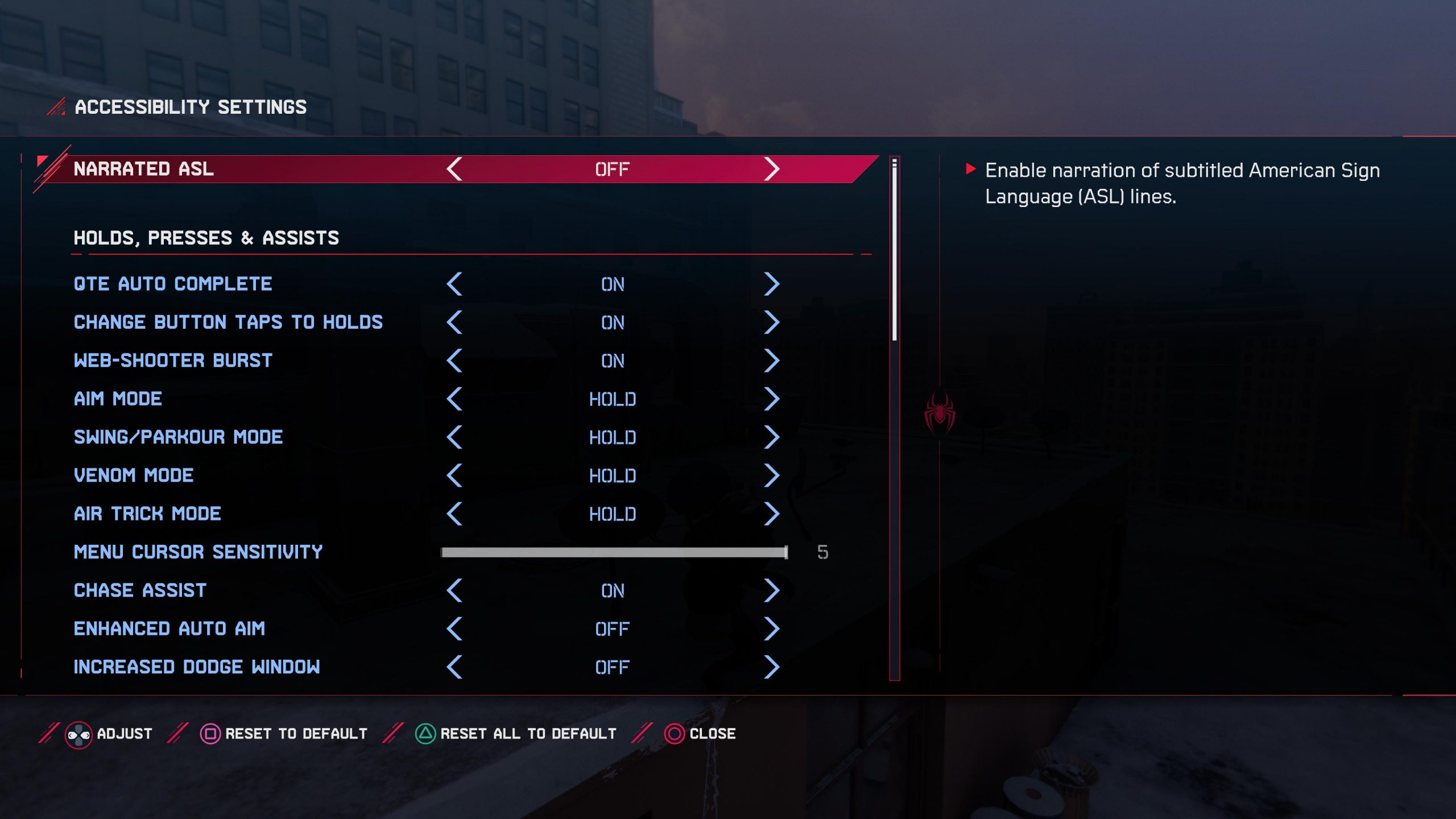 A screenshot showing the accessibility settings