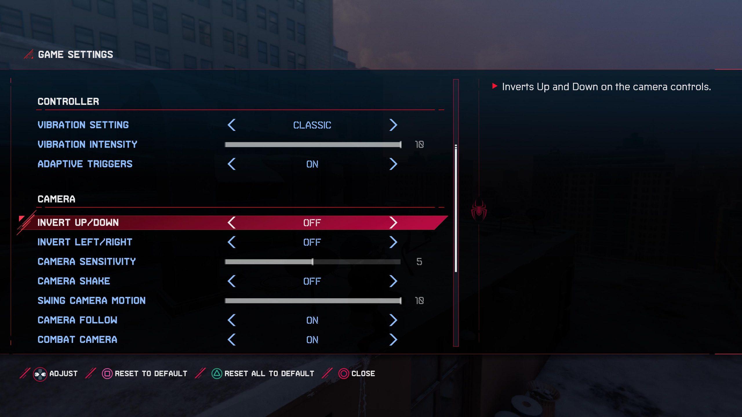 A screenshot showing the camera settings