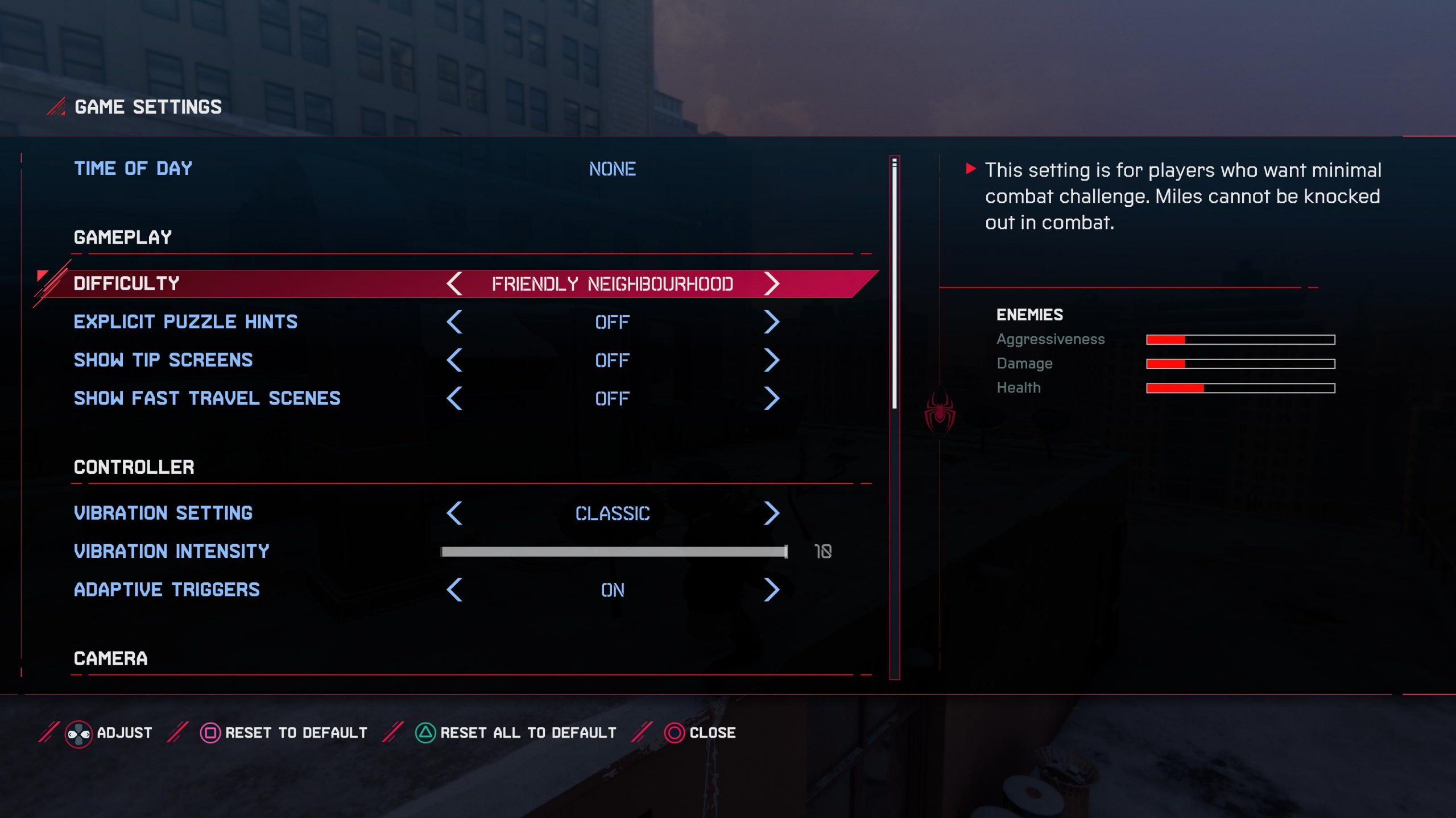 A screenshot showing the difficulty level and its description