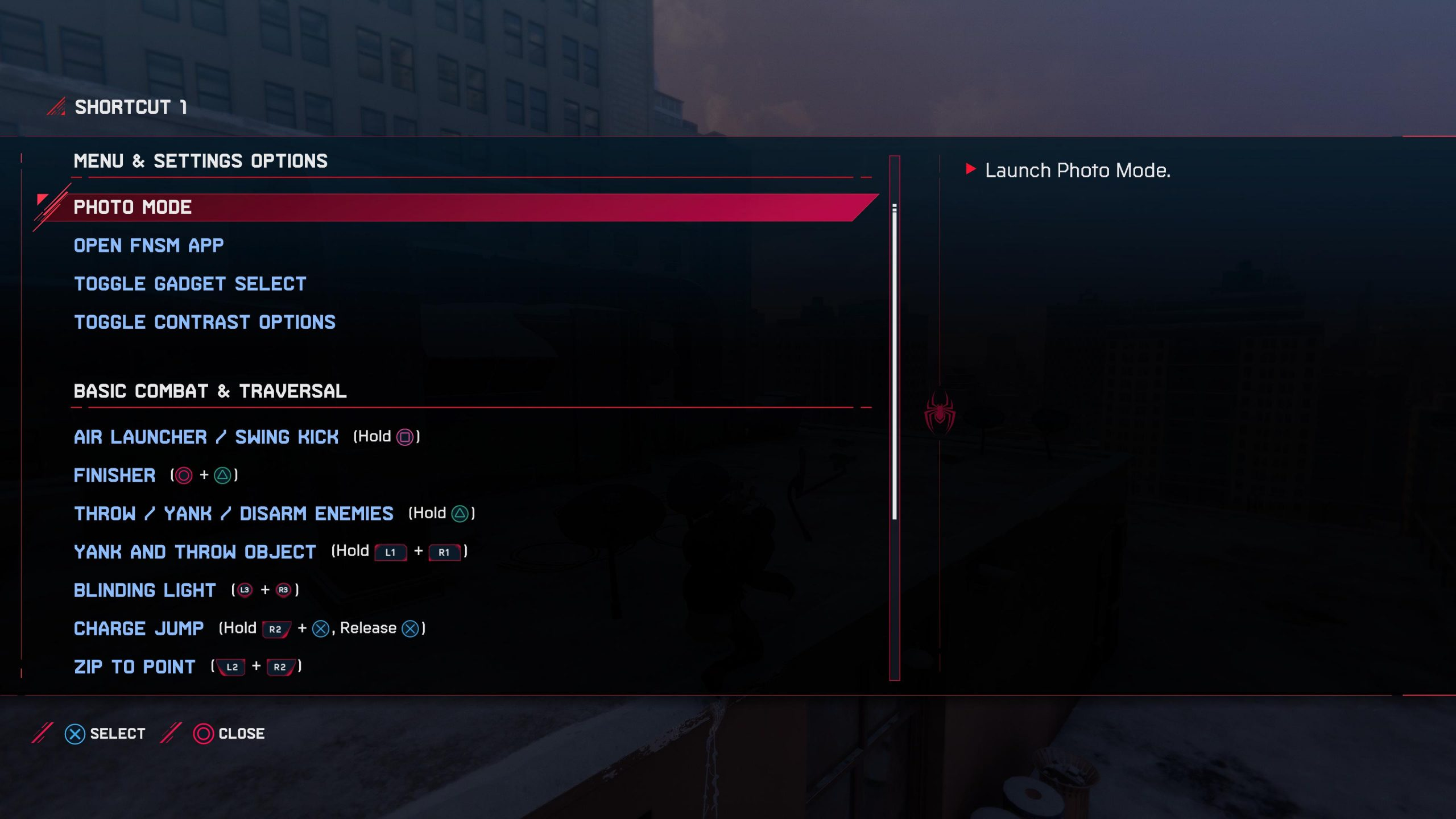 A screenshot showing the actions that can be mapped as shortcuts