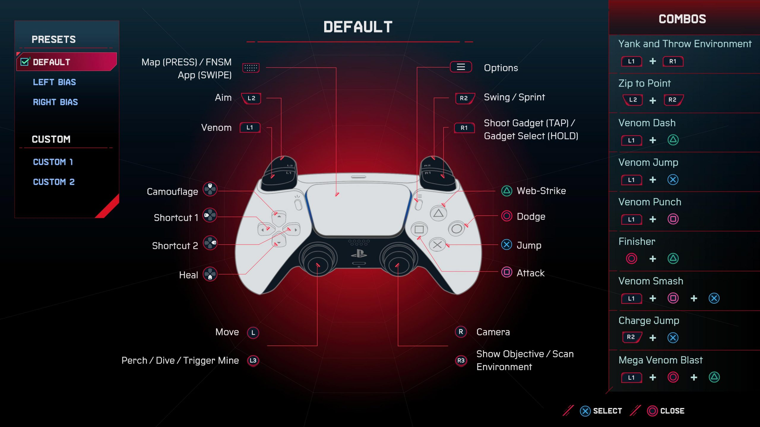 A screenshot showing the default controls