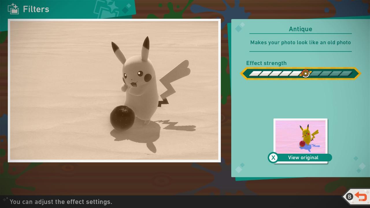 Screenshot of the filters menu.