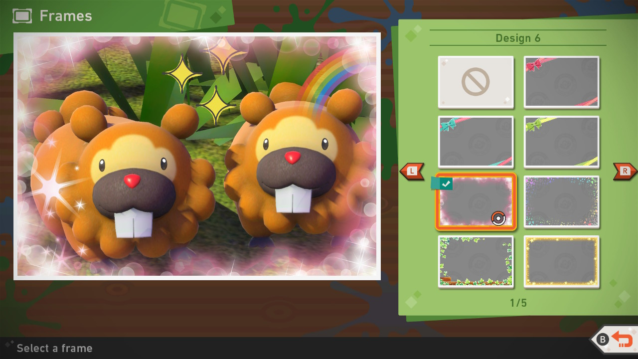 Screenshot of the frame selection menu.