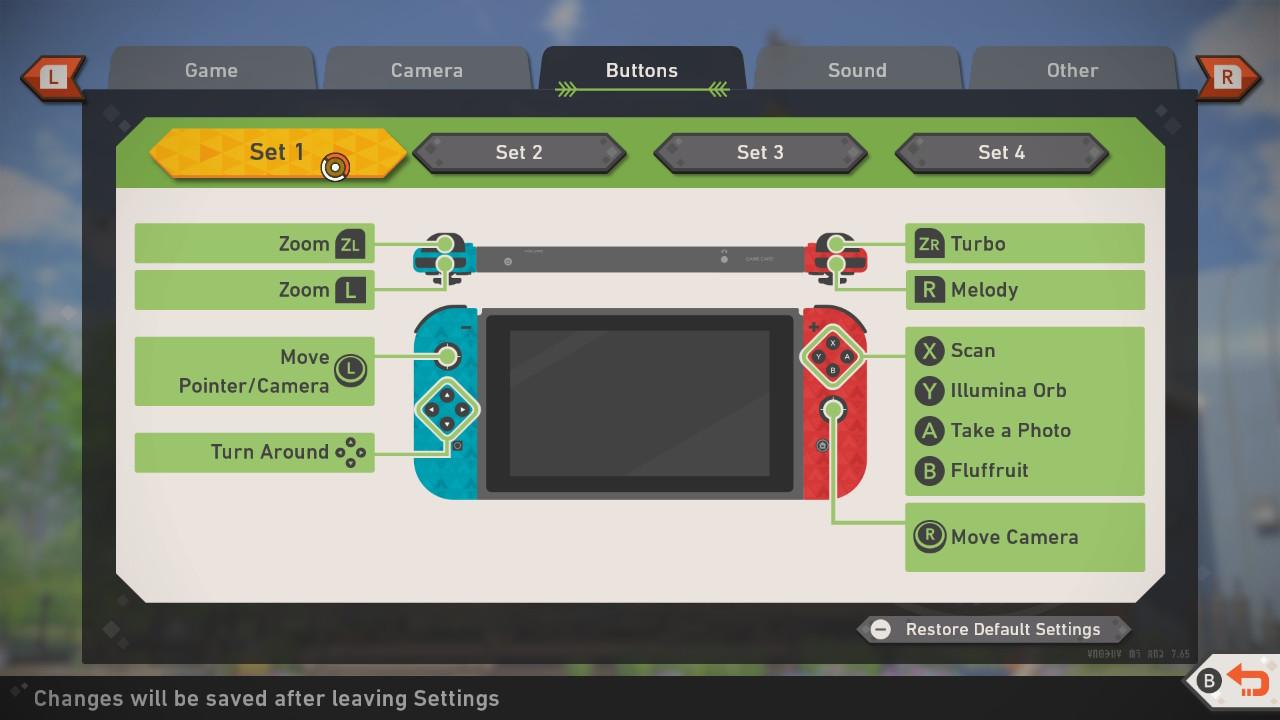 Screenshot of Set 1 button mappings.